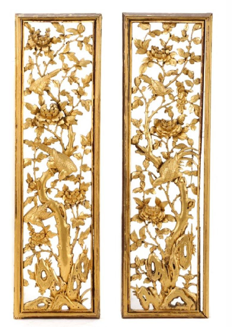 Pair Giltwood Aesthetic Movement Wall Appliques