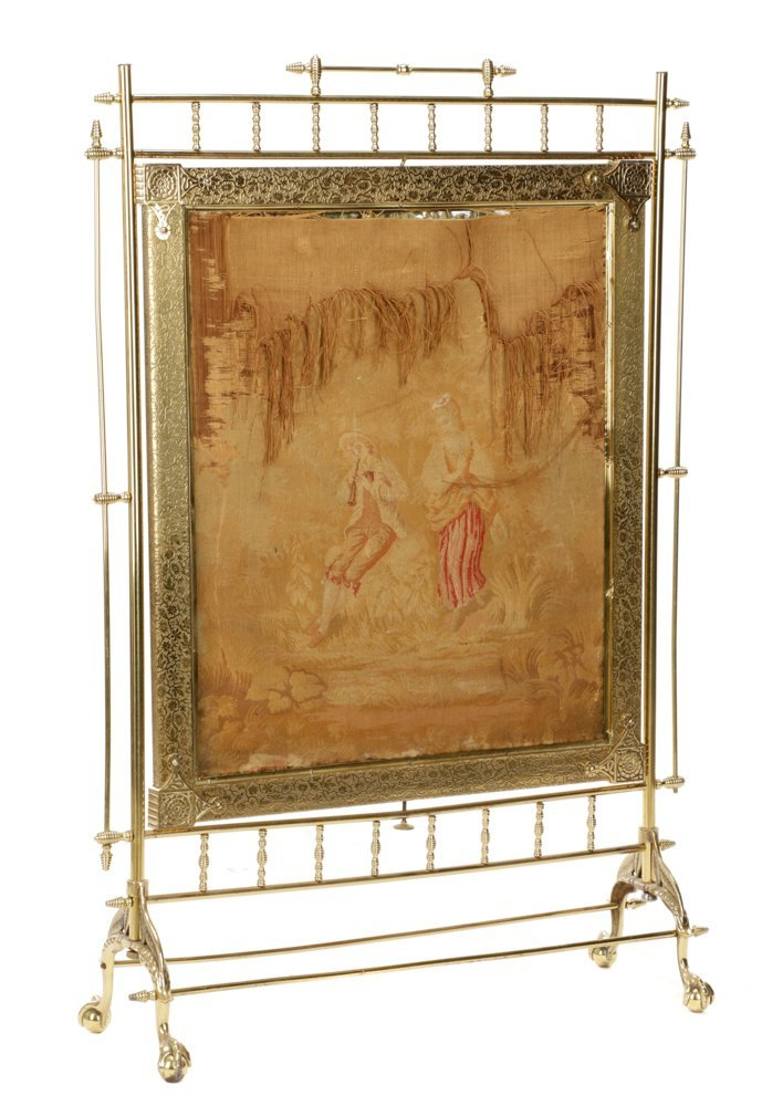 Gilt Brass Aesthetic Movement Style Fire Screen