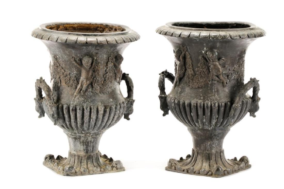 Pair of Figural French Cast Metal Garden Urns