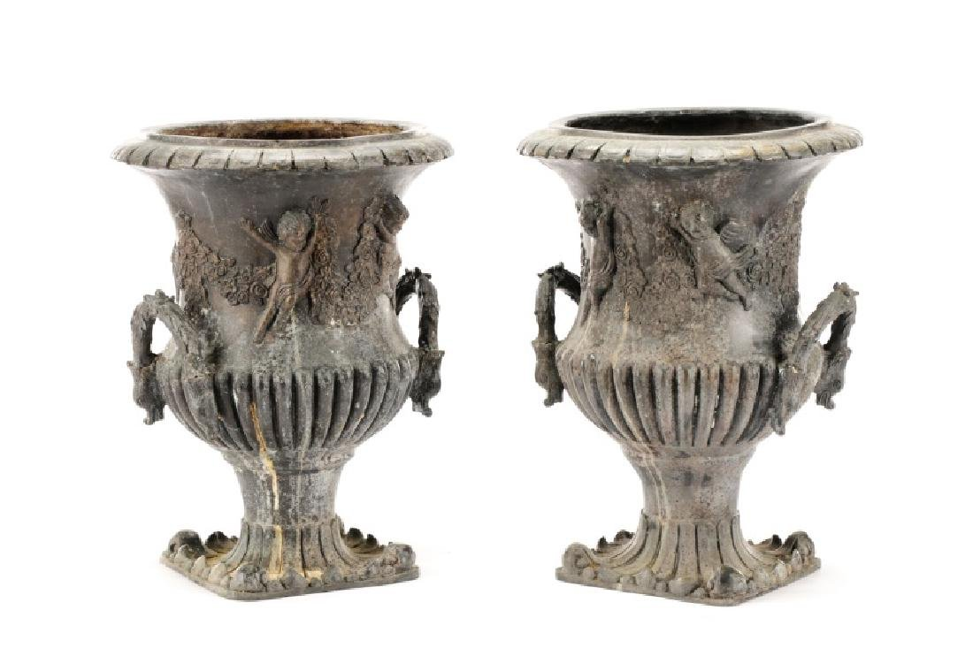 Pair of Figural French Cast Metal Garden Urns - 6