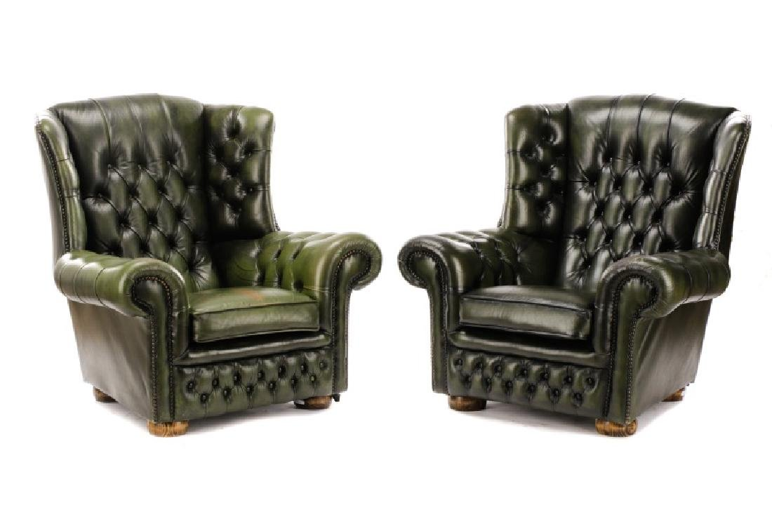 Pair, Tufted Green Leather Club Chairs