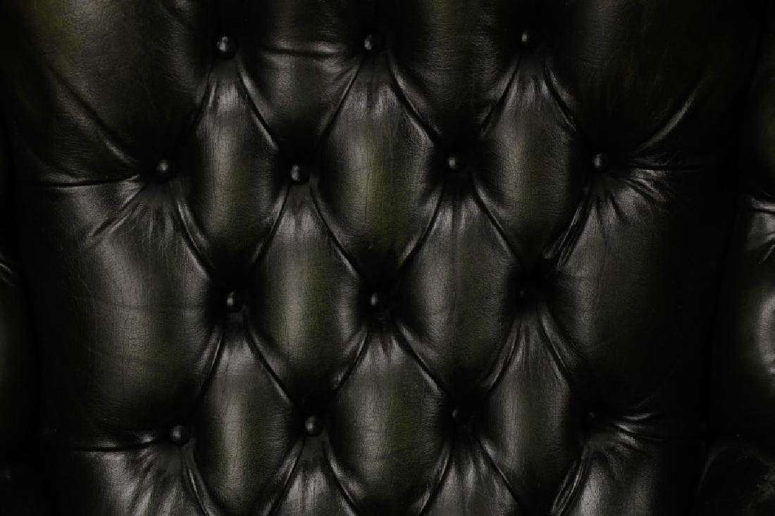 Pair, Tufted Green Leather Club Chairs - 3