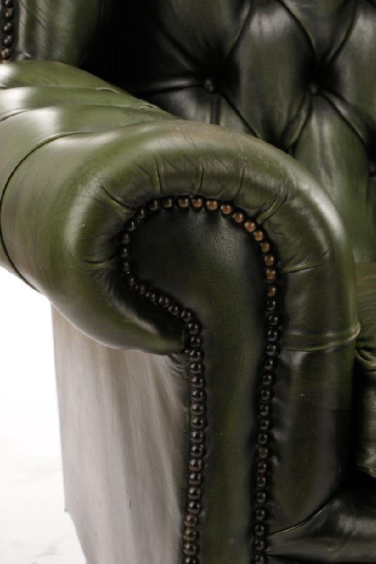 Pair, Tufted Green Leather Club Chairs - 4