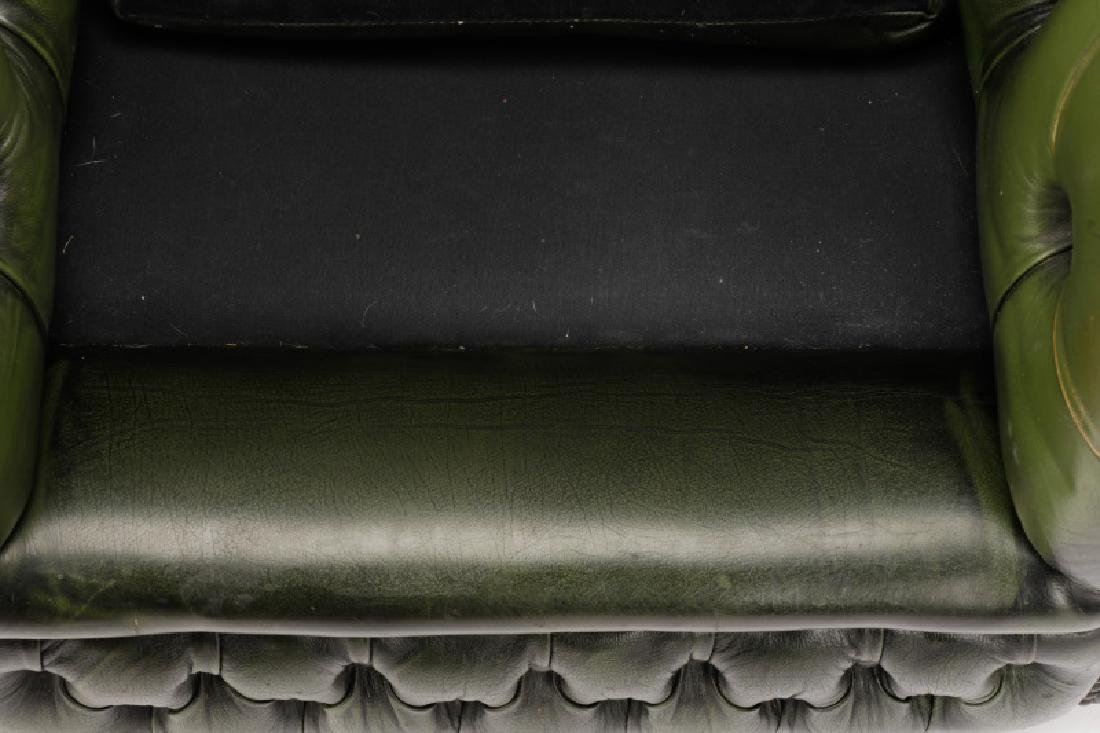 Pair, Tufted Green Leather Club Chairs - 5