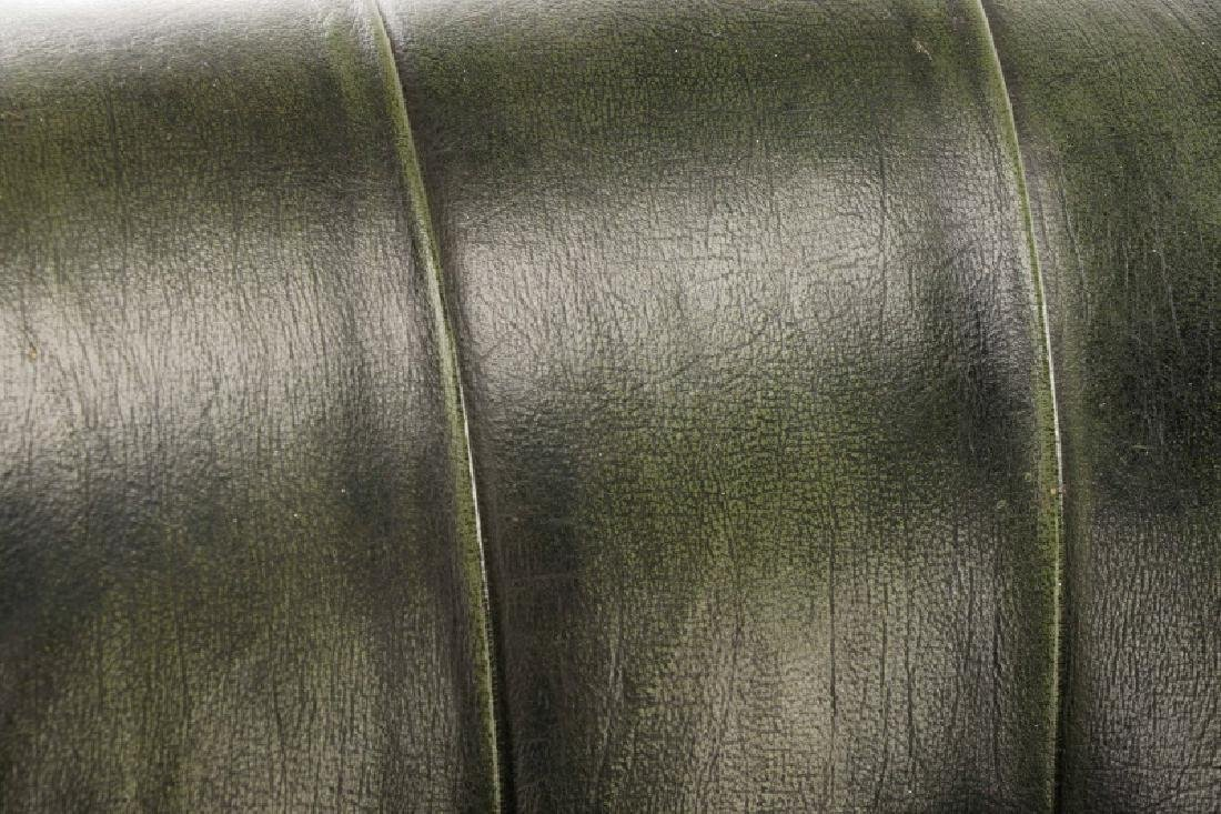 Pair, Tufted Green Leather Club Chairs - 6