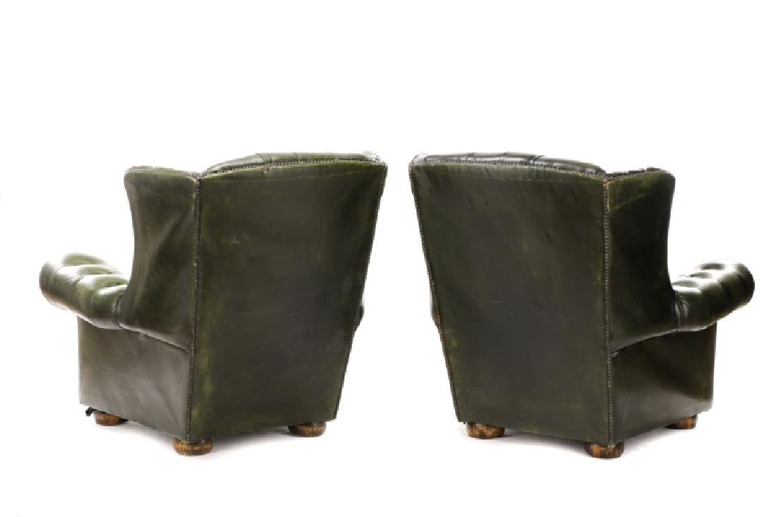 Pair, Tufted Green Leather Club Chairs - 7