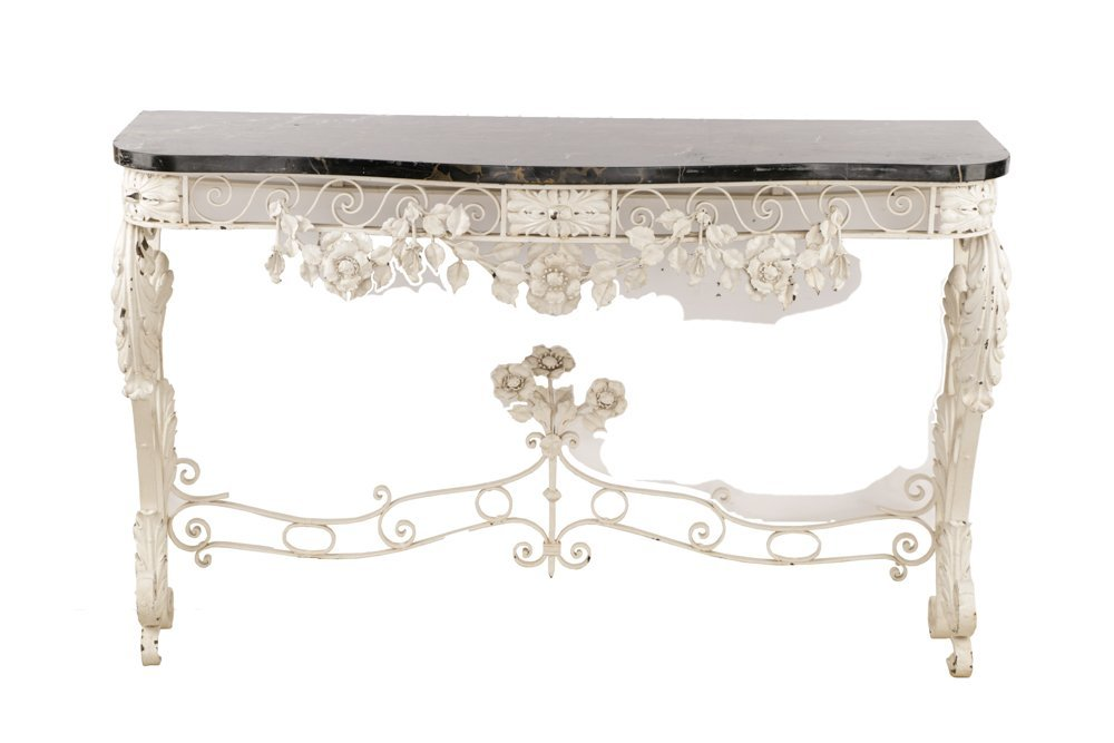 Floral Motif Wrought Iron Console w/ Marble Top