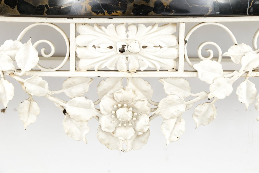 Floral Motif Wrought Iron Console w/ Marble Top - 2