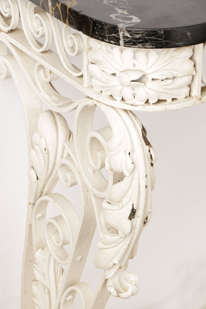 Floral Motif Wrought Iron Console w/ Marble Top - 6