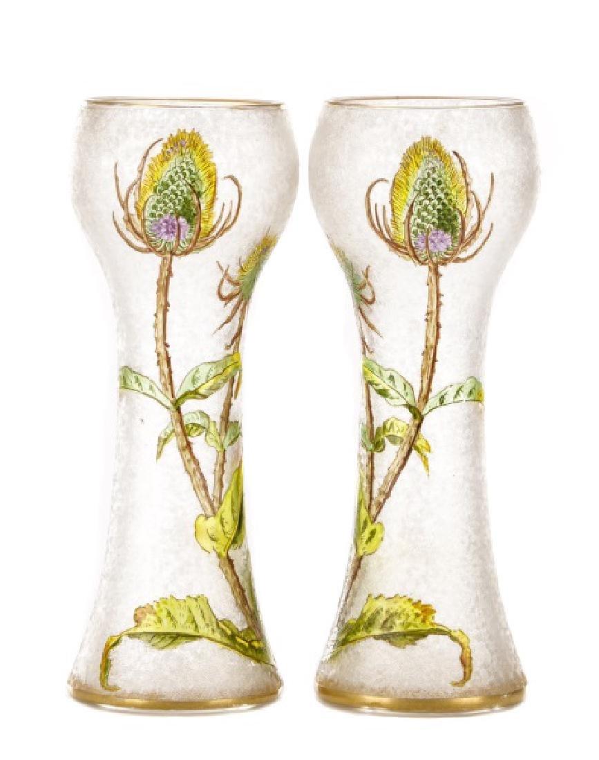Pair of Legras-Mont Joye Enameled Glass Vases