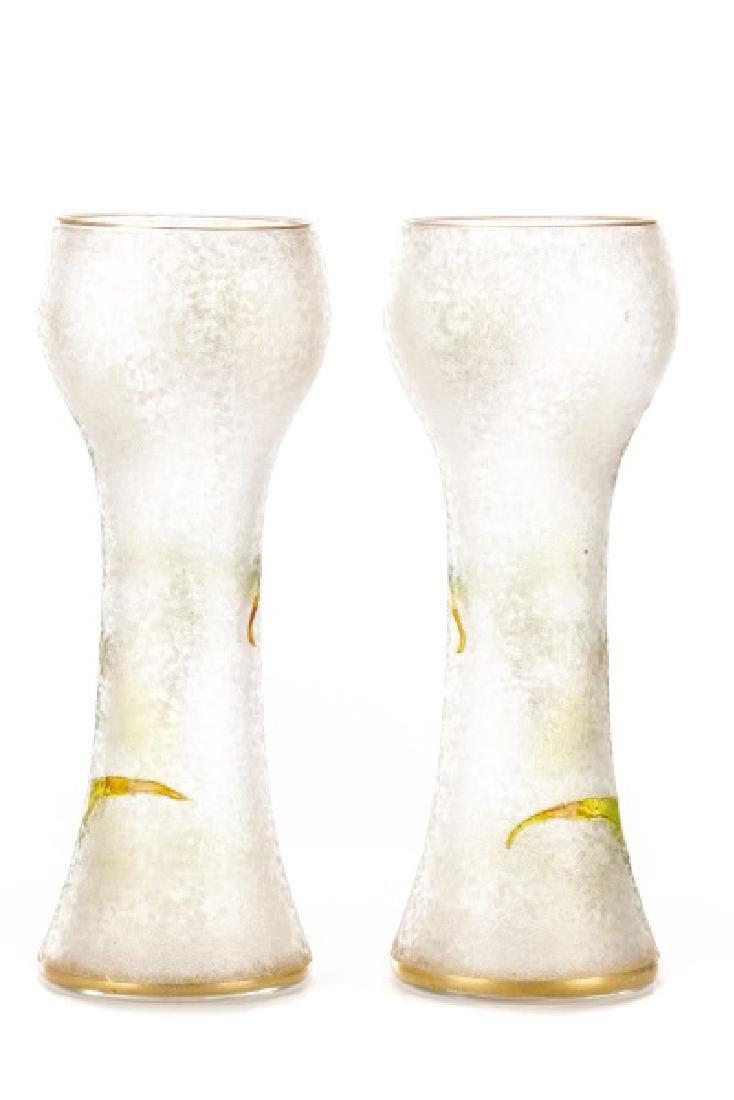 Pair of Legras-Mont Joye Enameled Glass Vases - 6