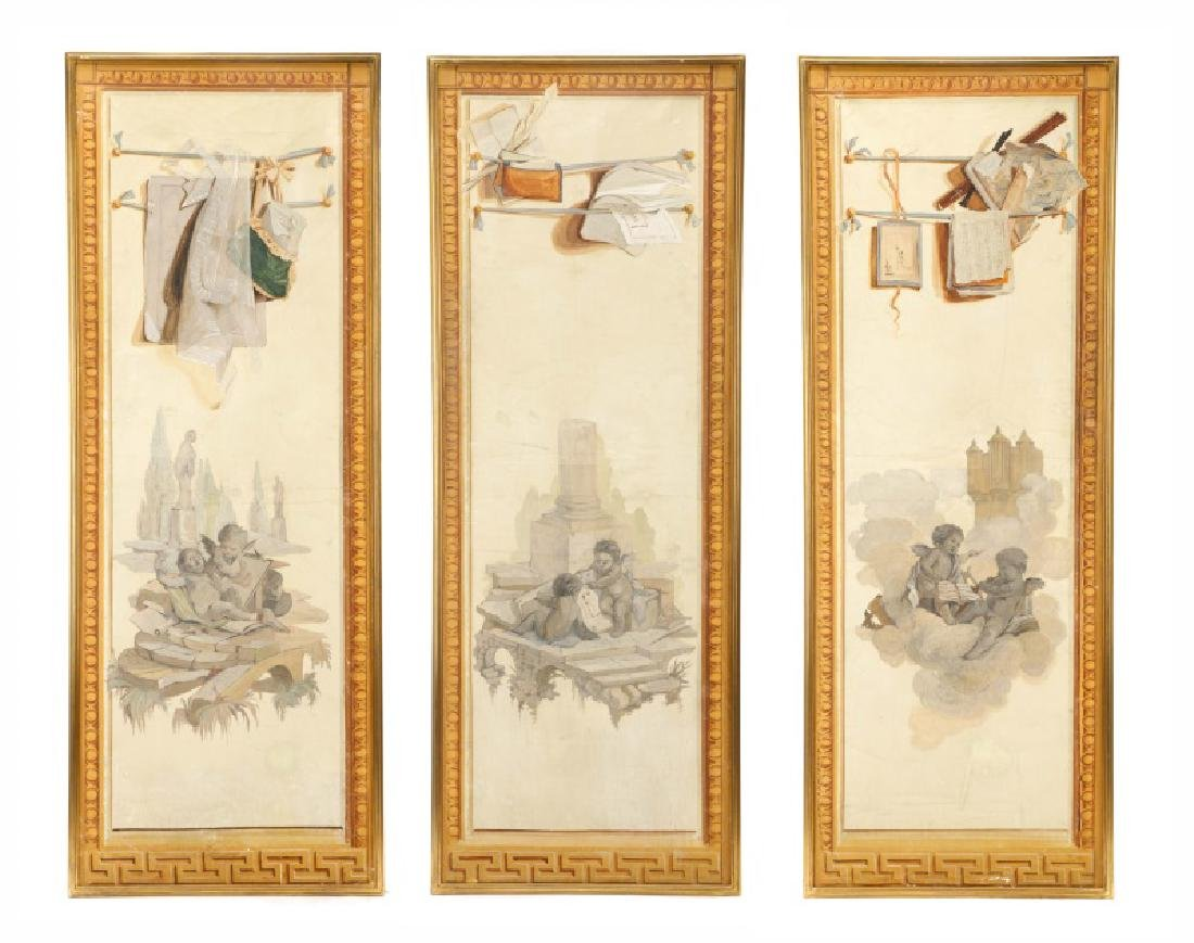 Collection of 3 Grisaille Oil Cherub Paintings