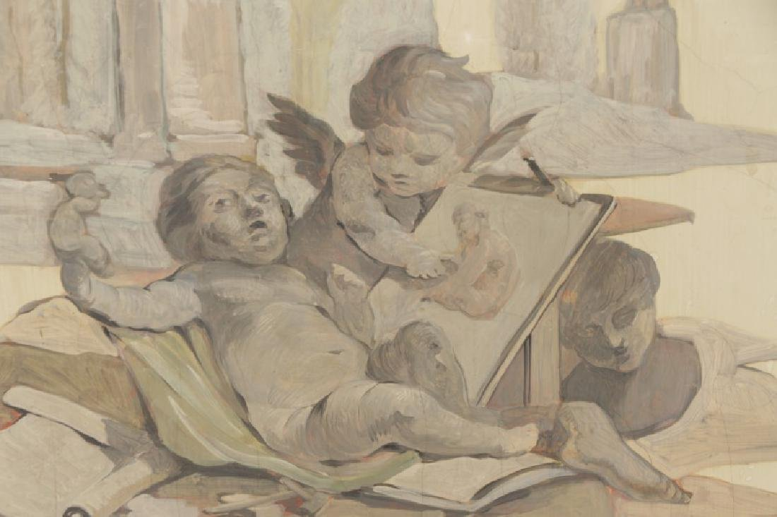 Collection of 3 Grisaille Oil Cherub Paintings - 5