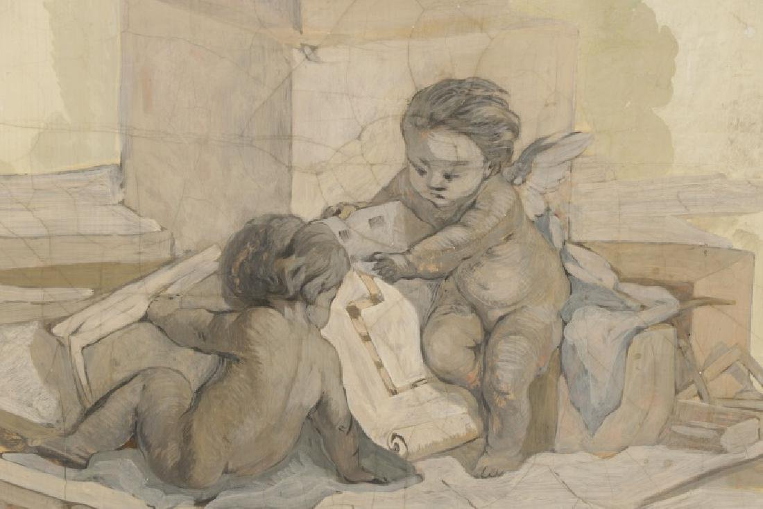 Collection of 3 Grisaille Oil Cherub Paintings - 6