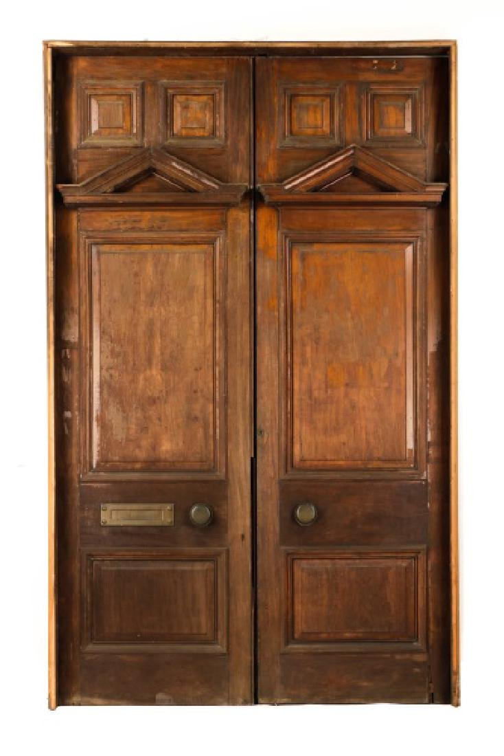 Pair of Monumental Georgian Carved Wood Doors
