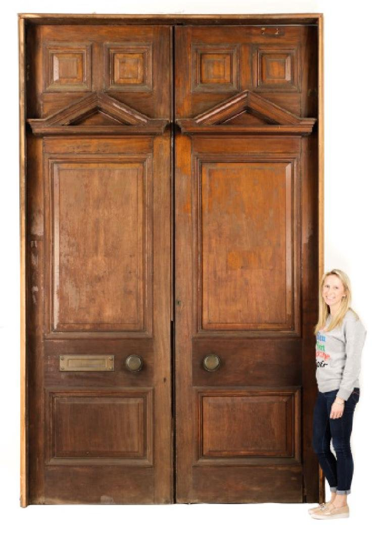 Pair of Monumental Georgian Carved Wood Doors - 5