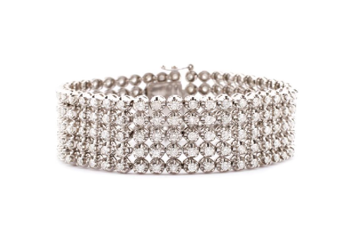 Ladies 14K White Gold and Diamond Bracelet