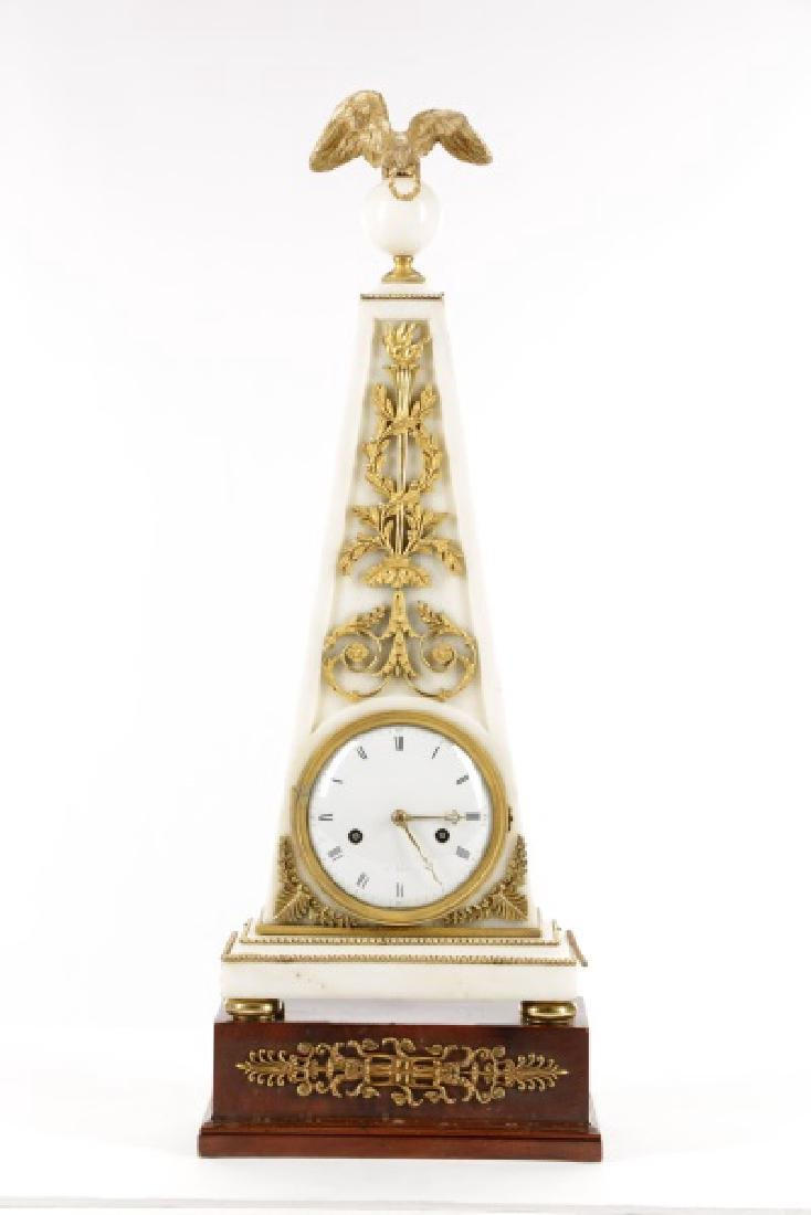 French Neoclassical Style Ormolu Marble Clock