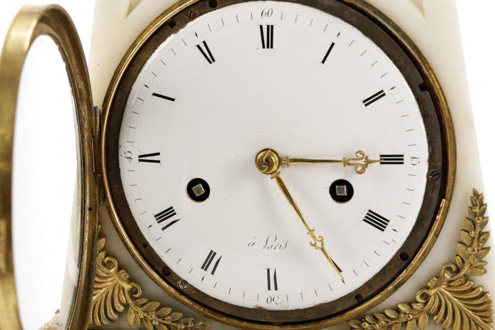 French Neoclassical Style Ormolu Marble Clock - 2