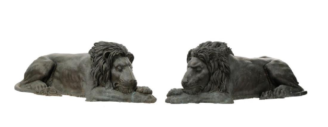 Pair of Bronze Recumbent Garden or Entry Lions