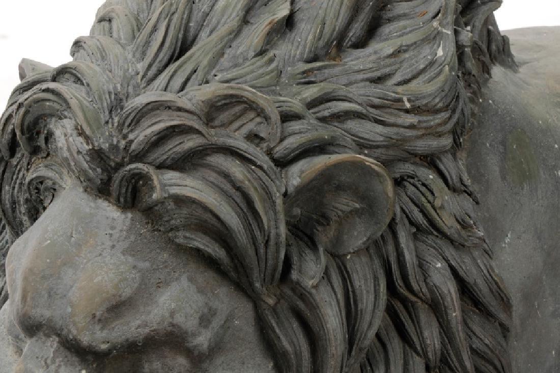 Pair of Bronze Recumbent Garden or Entry Lions - 2