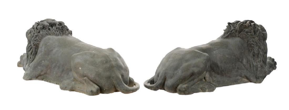 Pair of Bronze Recumbent Garden or Entry Lions - 6