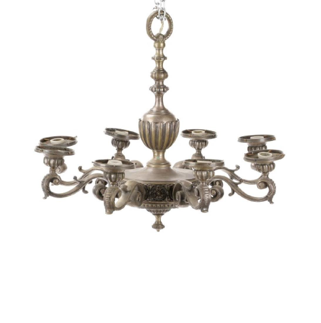 Neoclassical Silvered Metal 8-Light Chandelier