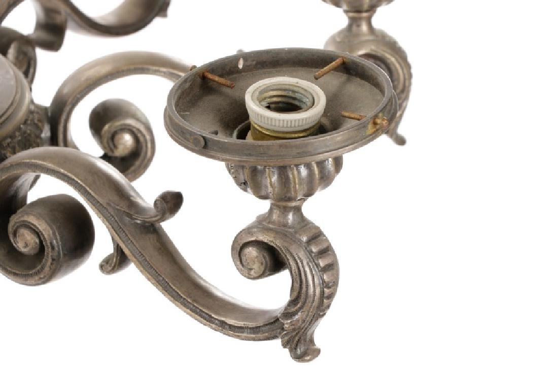Neoclassical Silvered Metal 8-Light Chandelier - 4