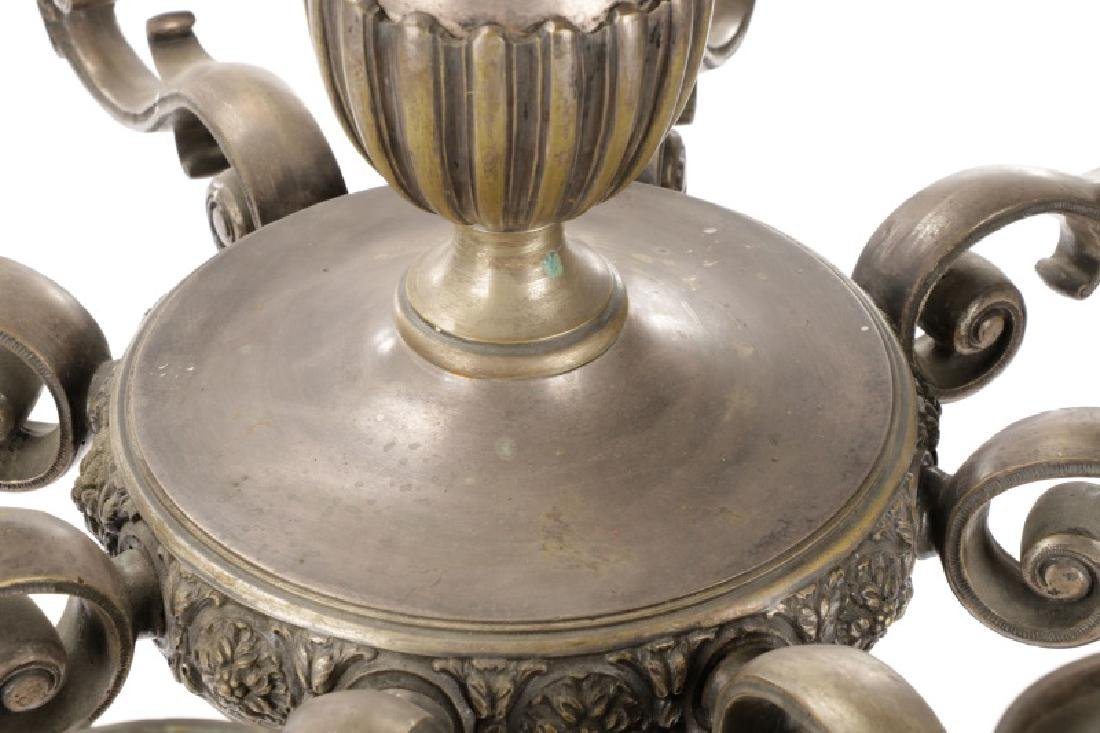 Neoclassical Silvered Metal 8-Light Chandelier - 6