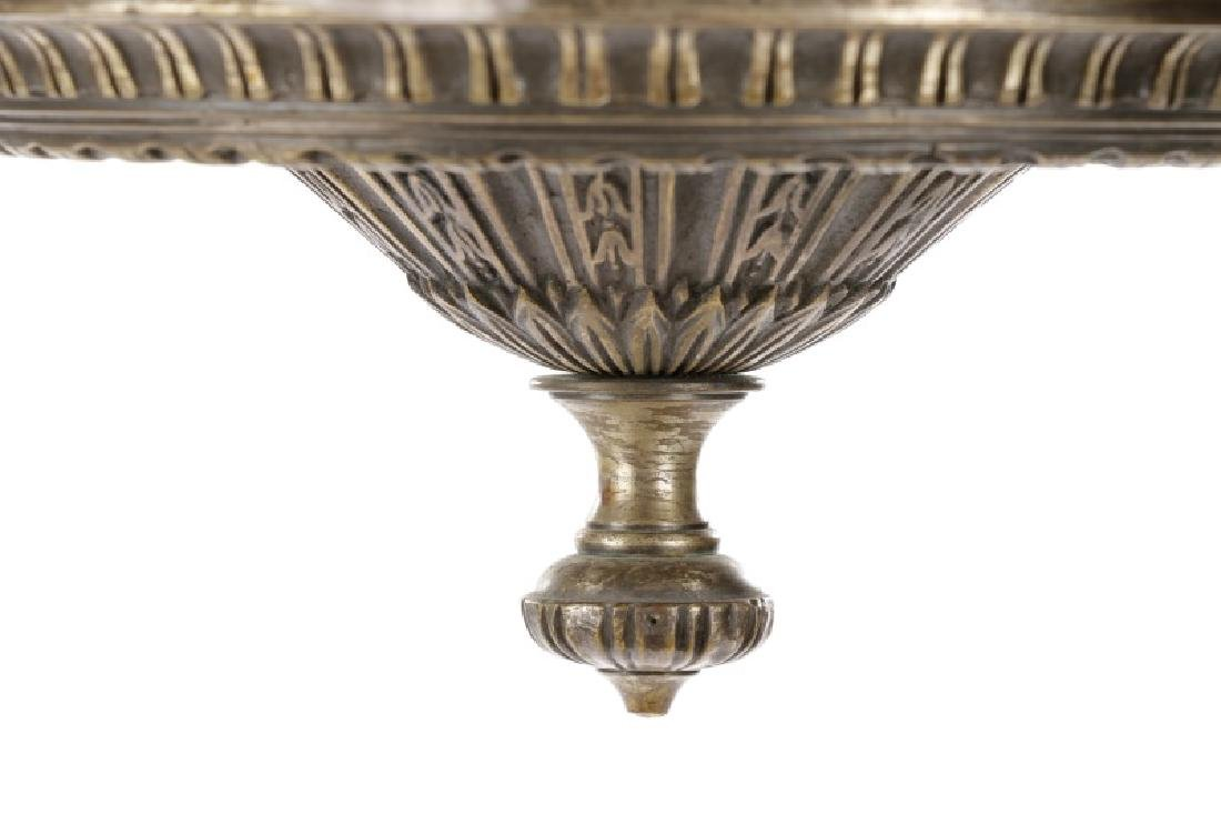 Neoclassical Silvered Metal 8-Light Chandelier - 8