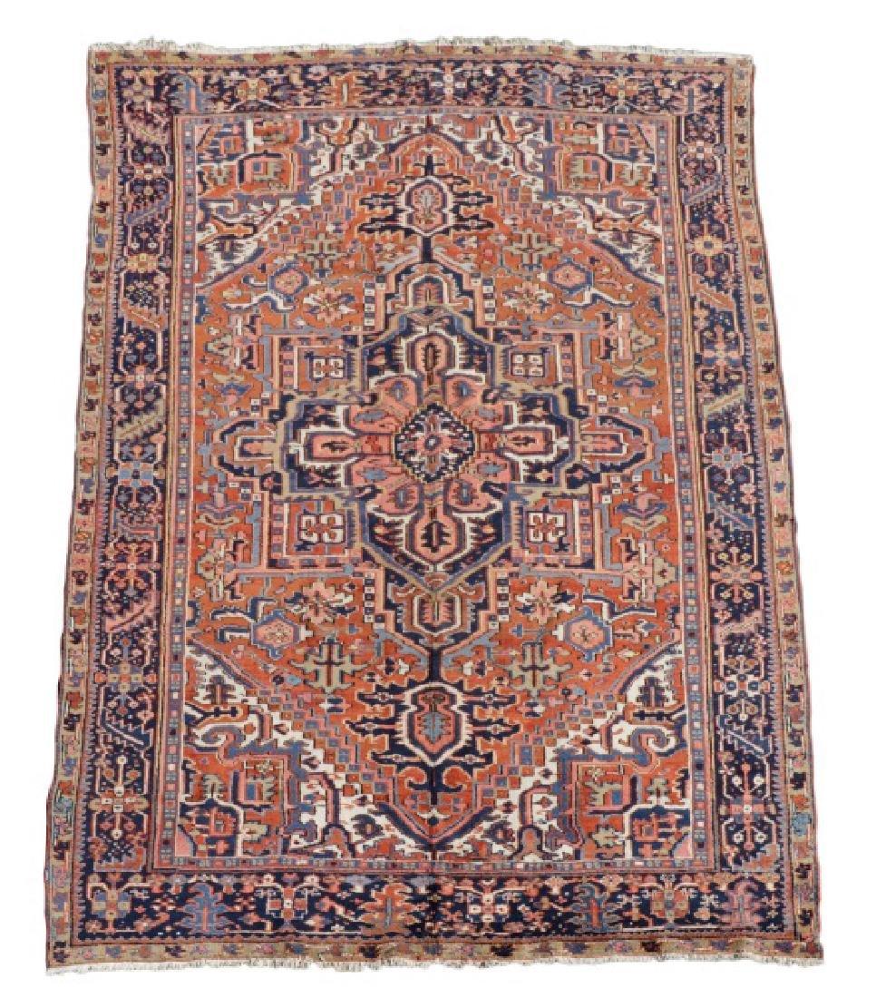"Hand Woven Persian Heriz Area Rug, 7' 4"" x 10' 6"""
