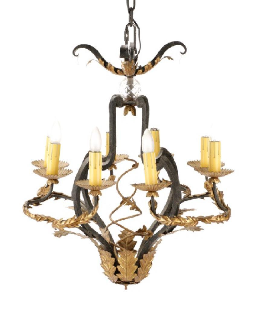 Spanish Colonial Wrought Iron 8-Light Chandelier