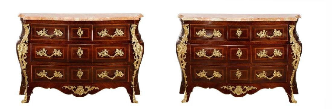 Pair, Marble Top Louis XV Style Bombe Chests