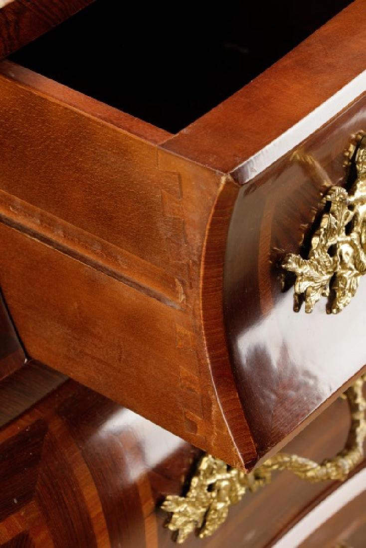 Pair, Marble Top Louis XV Style Bombe Chests - 6