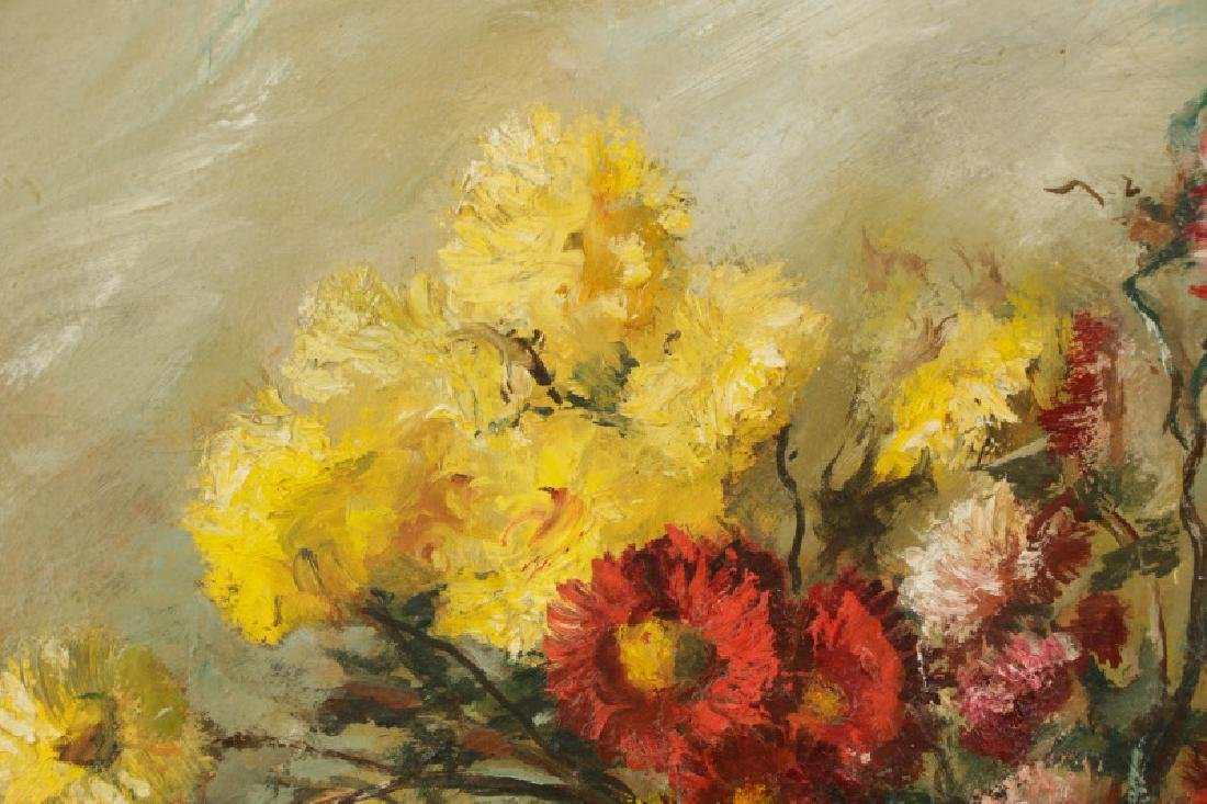 """Continental, """"Still Life with Chrysanthemum"""", Oil - 2"""