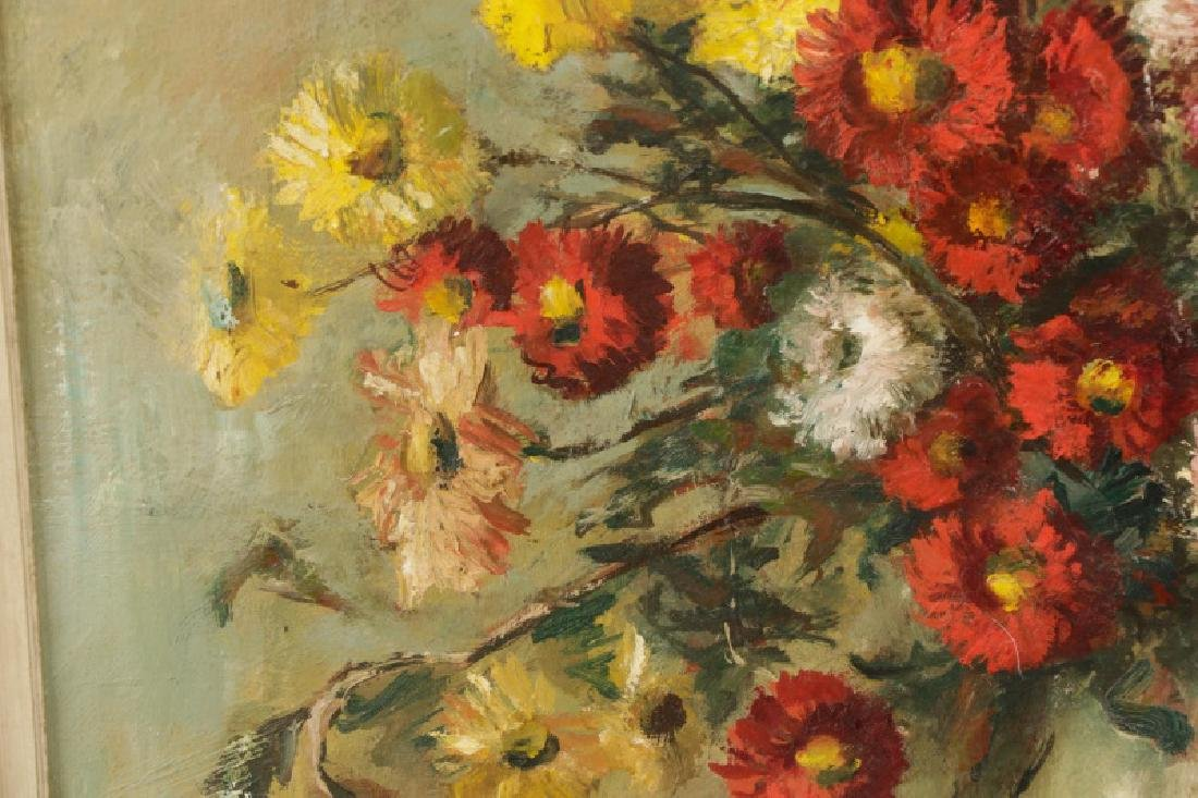 """Continental, """"Still Life with Chrysanthemum"""", Oil - 3"""