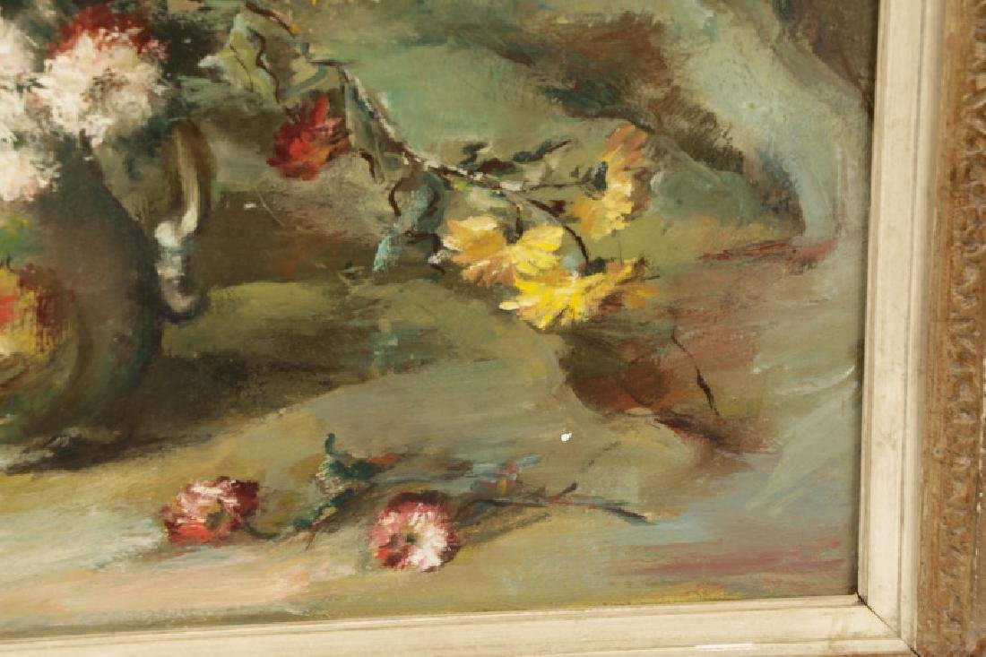 """Continental, """"Still Life with Chrysanthemum"""", Oil - 7"""