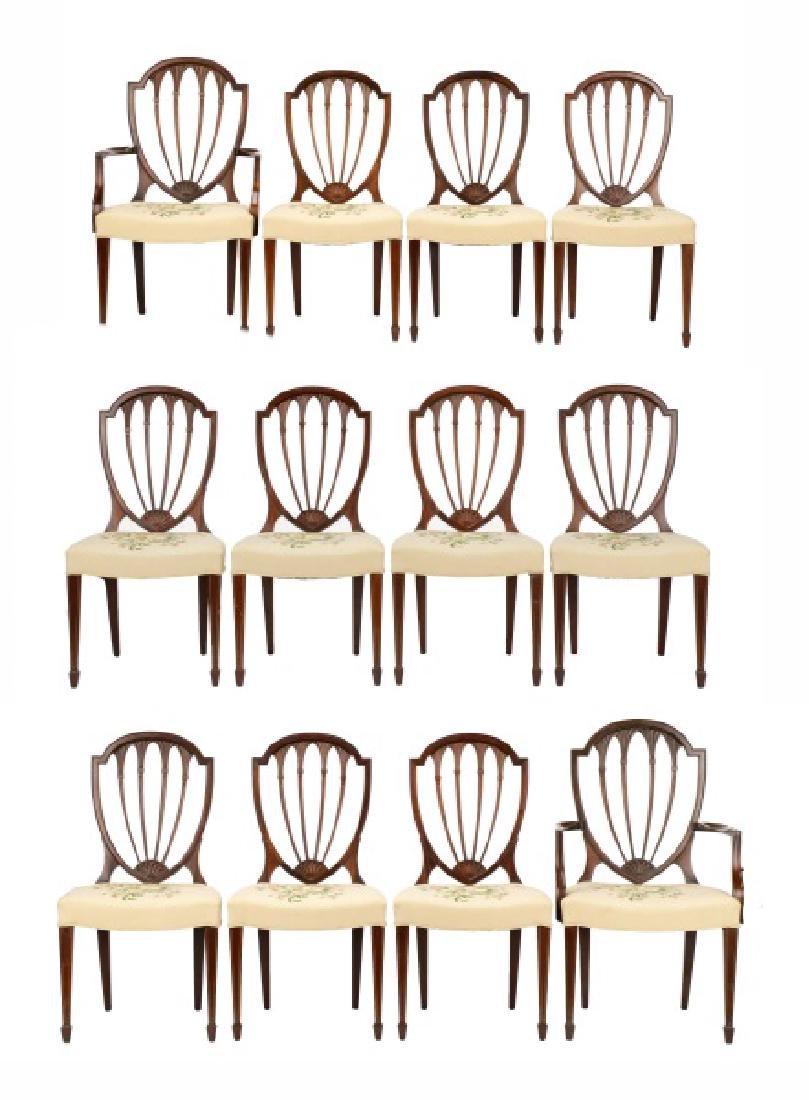 12 Mahogany Hepplewhite Style Dining Chairs