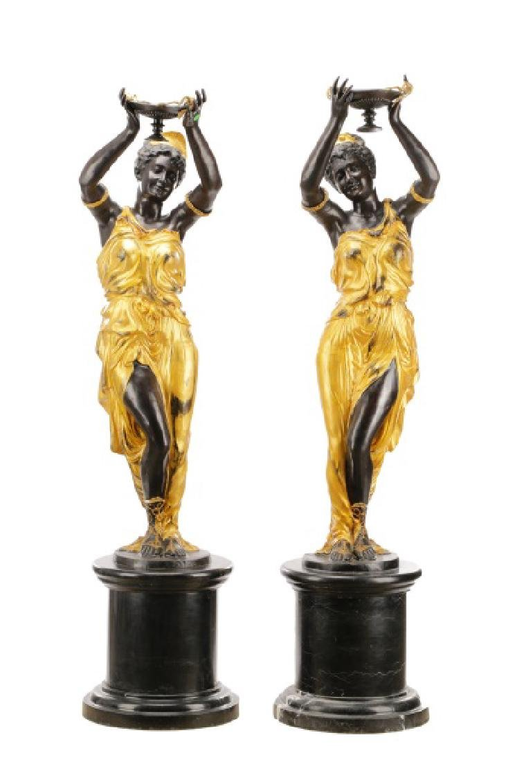 Pair, Cast Bronze Blackamoors on Marble Bases