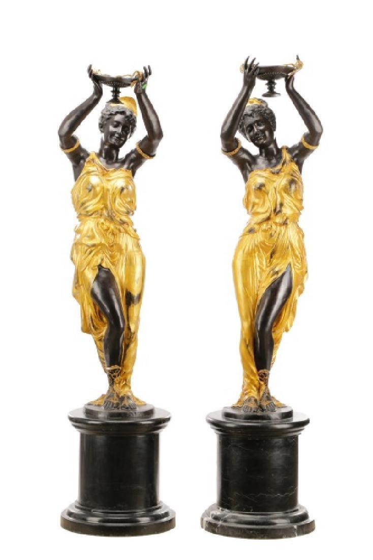 Pair, Cast Bronze Blackamoors on Marble Bases