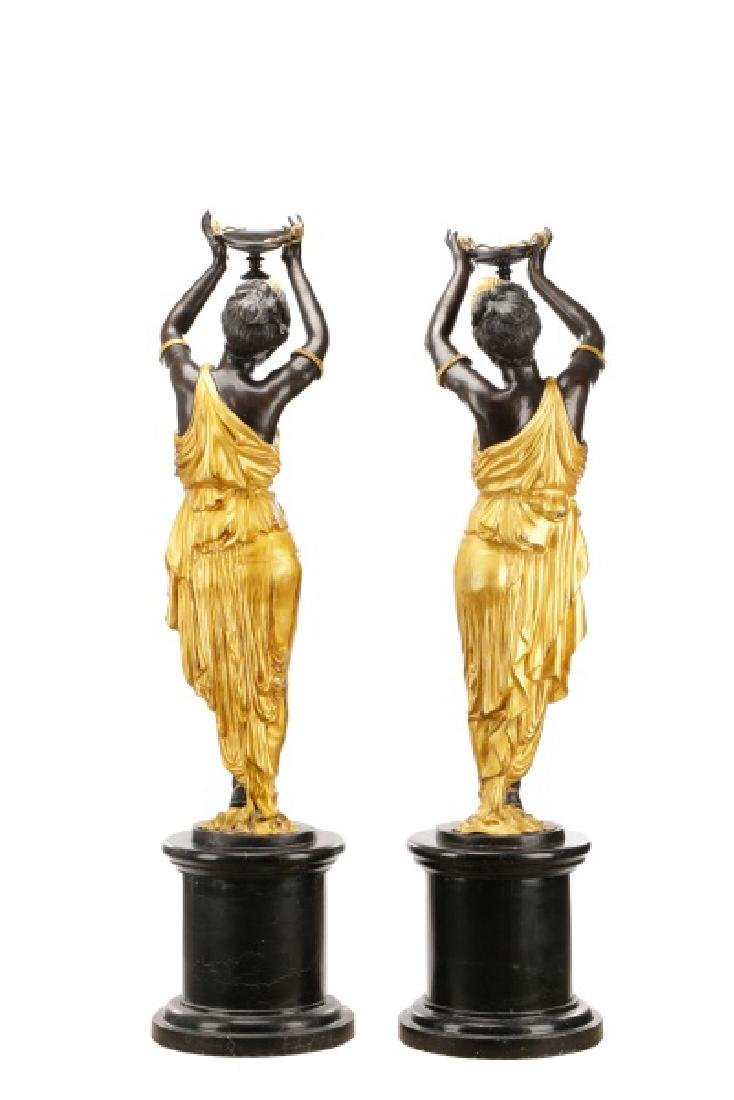 Pair, Cast Bronze Blackamoors on Marble Bases - 8