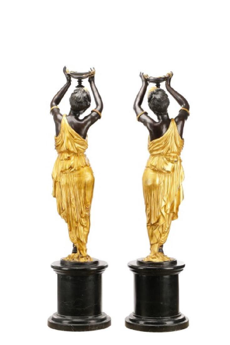Pair, Cast Bronze Blackamoors on Marble Bases - 8