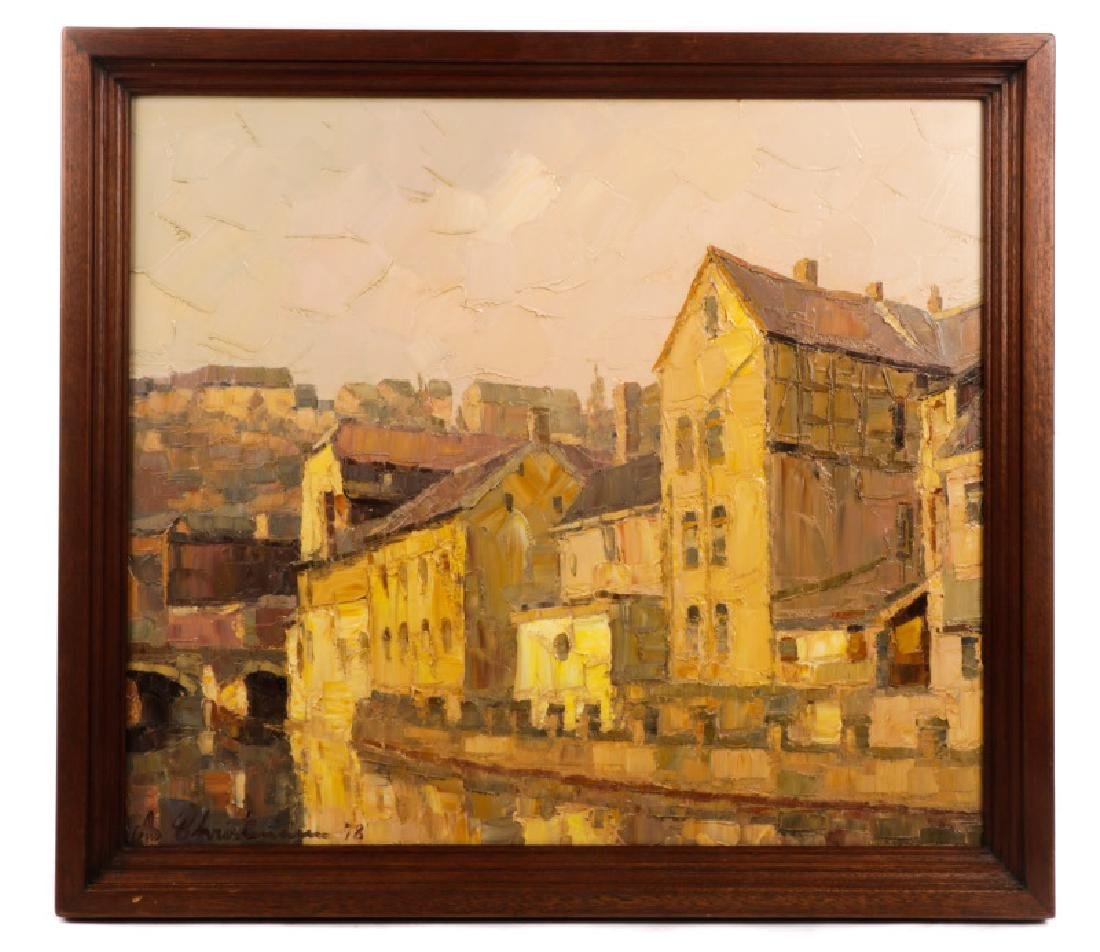 """Danish School, """"Along the Canal""""-1978, Signed"""