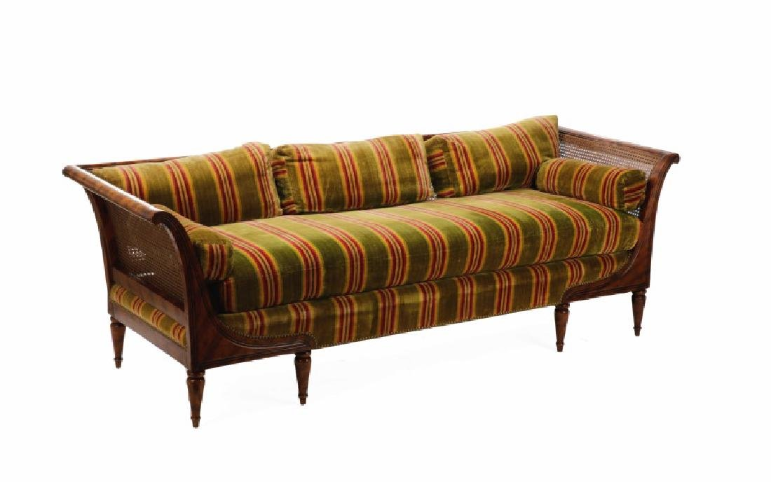 Caned & Stained Tortoiseshell Wood Settee
