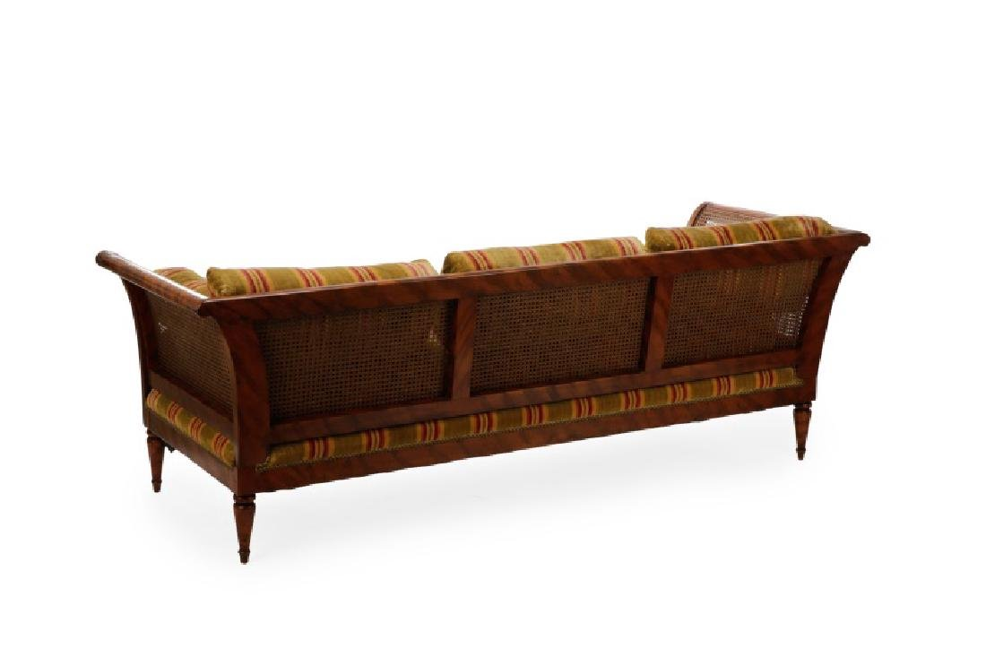 Caned & Stained Tortoiseshell Wood Settee - 2