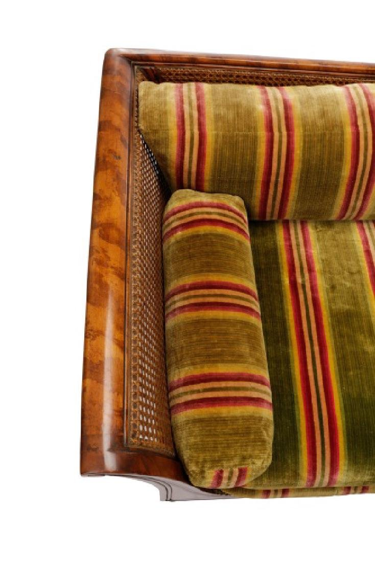 Caned & Stained Tortoiseshell Wood Settee - 4