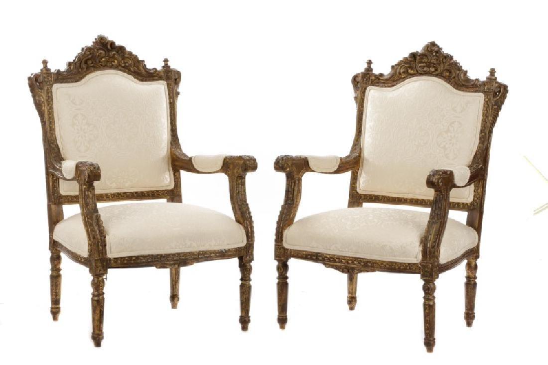 Pair of Baroque Style Giltwood Armchairs