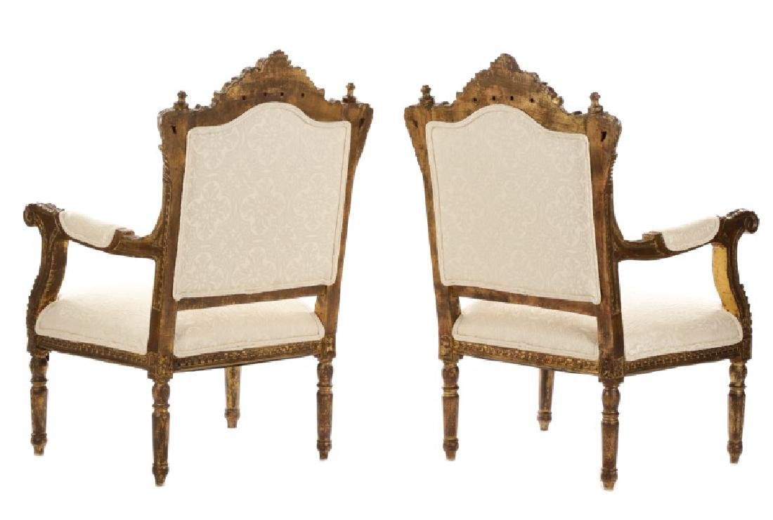 Pair of Baroque Style Giltwood Armchairs - 8