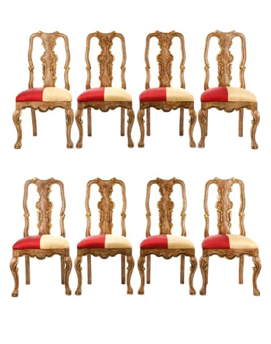 Set of 8 Portuguese Baroque Style Dining Chairs