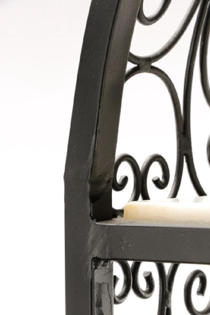 Pair French Style White Stone and Iron Etageres - 4